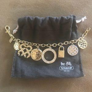 Coach chunky crystal charm bracelet